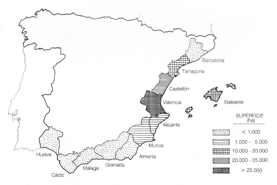Distribució provincial de la superfície de la garrofera