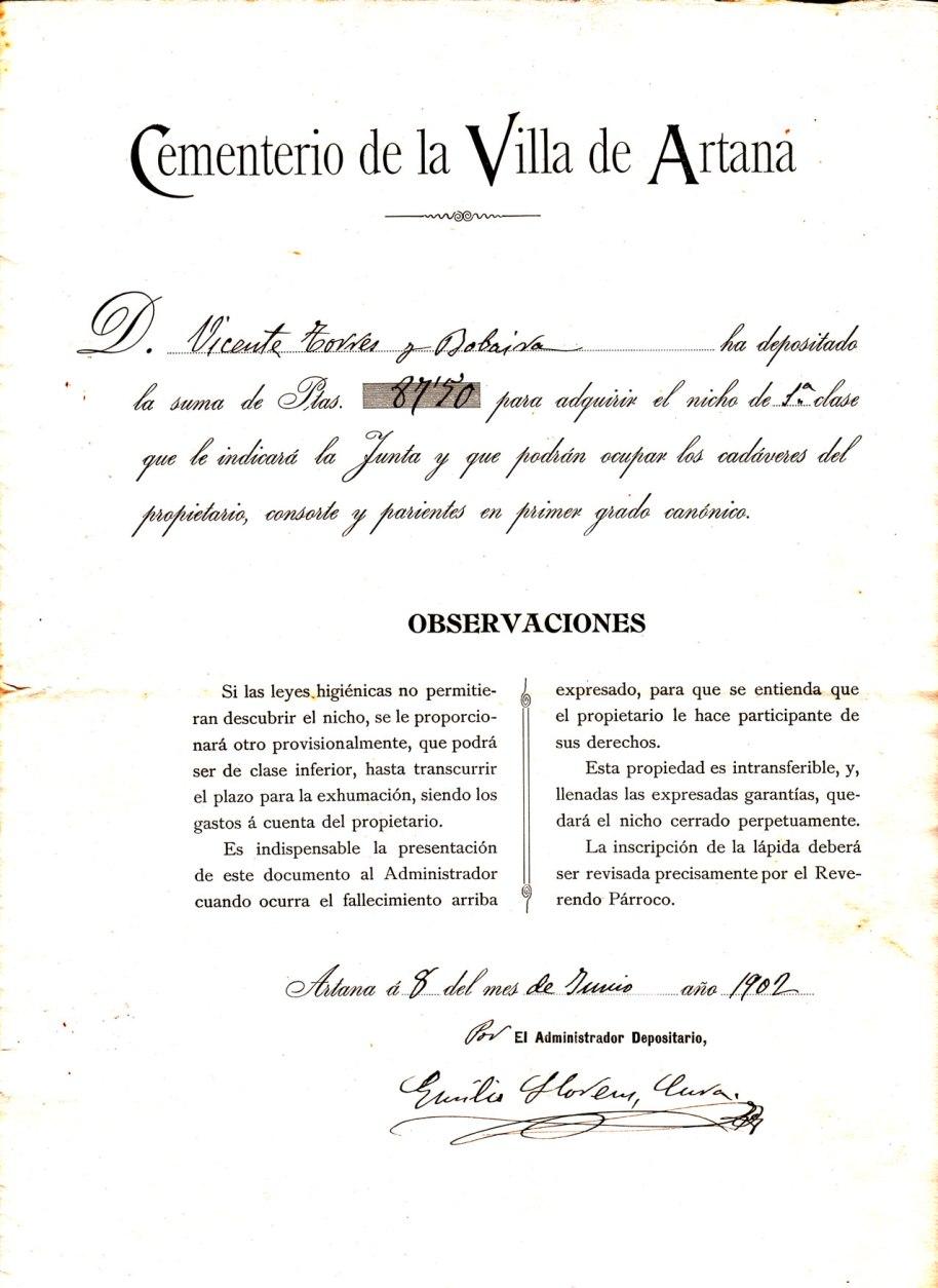 Un document de venda d'un ninxo, datat en 8 de juny de 1902. El Cementeri s'acabaria més d'un any després,  i la capella el 1916, tal com conta Mn. Lluís en la Història d'Artana que es pot llegir a Artanapèdia. Durant tot el segle XIX s'havia enterrat al cementeri de la pujada al Calvari. Es pot veure en algunes de les nostres fotos.
