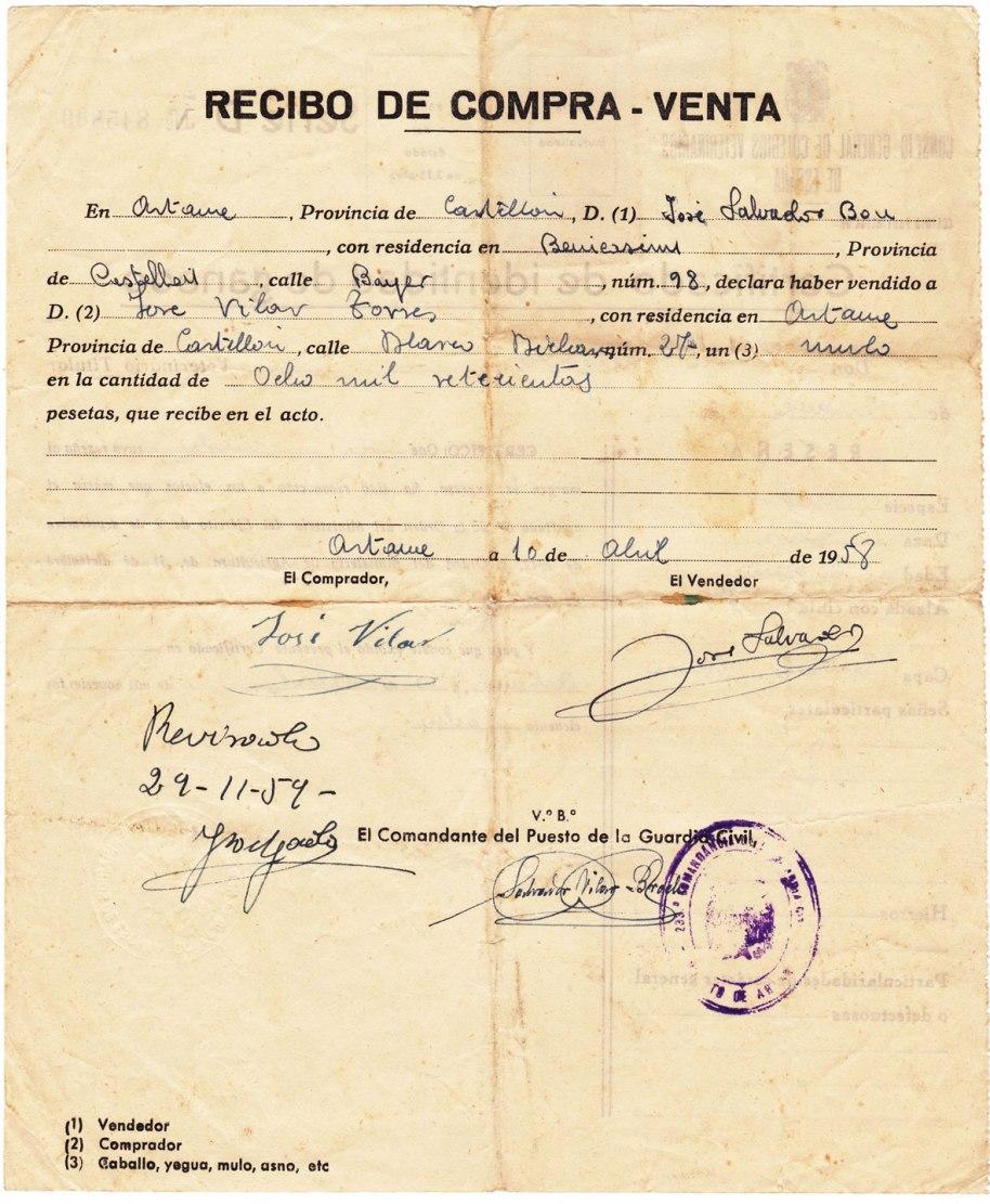 Dijous 10 d'abril de 1958, José Vilar Torres compra un matxo en Benicàssim per 8700 pessetes. Un veterinari identifica l'animal i supervisa la transacció, i la Guàrdia civil dóna el vistiplau.
