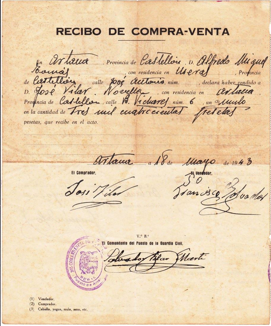 José Vilar Novella compra un matxo en les Useres per 3400 pessetes. Un veterinari identifica l'animal i supervisa la transacció.