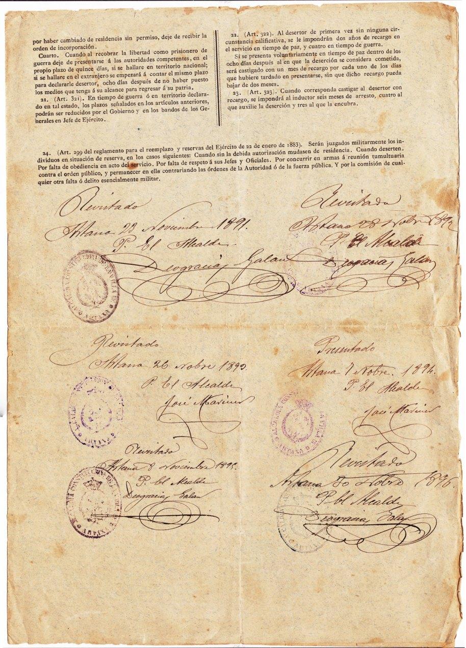 """El recluta Vicente Torres Llidó no va tindre la sort ni les perres per a lliurar-se del servei militar. Ací tenim la """"Cartilla"""" del passe a la segona reserva, signada en Artana durant sis anys, de 1891 a 1896."""