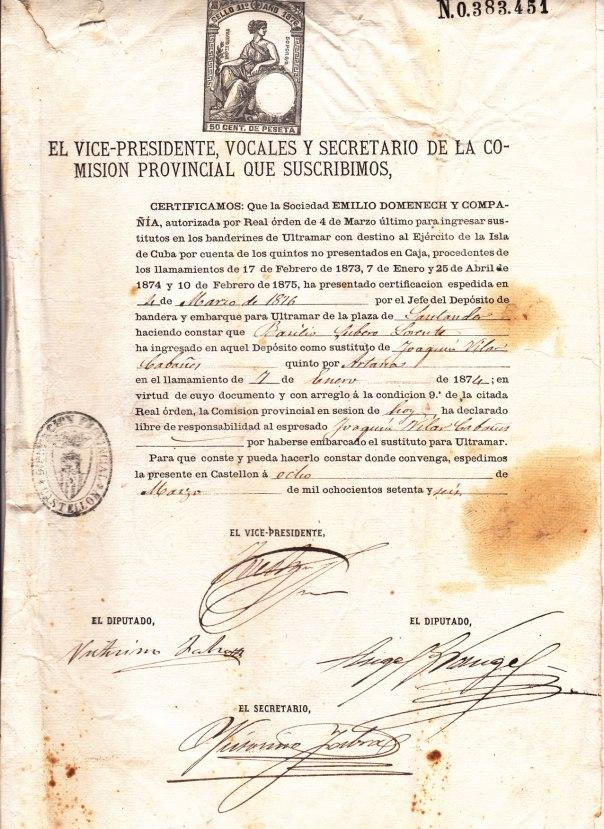 Document de sustitució del quinto Joaquín Vilar Cabañes, destinat a Cuba, per un altre mosso el 8 de març de 1976. La gestió la fa l'asseguradora Emilio Doménech y Compañía.