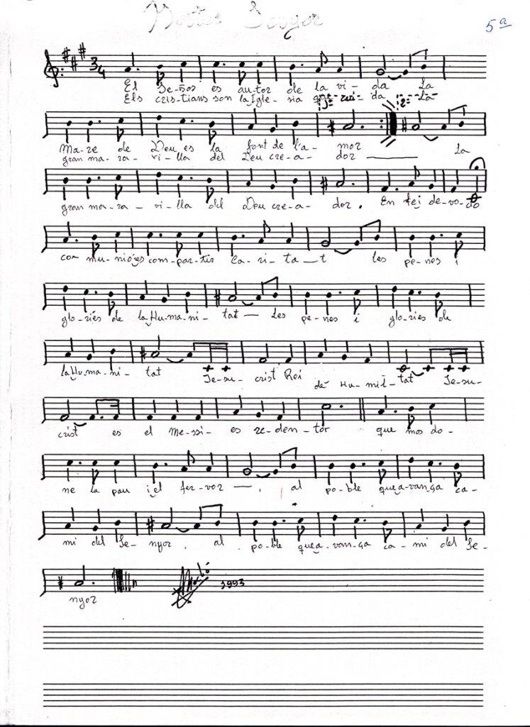 Aurora del Nostre Senyor: Melodia a dos veus