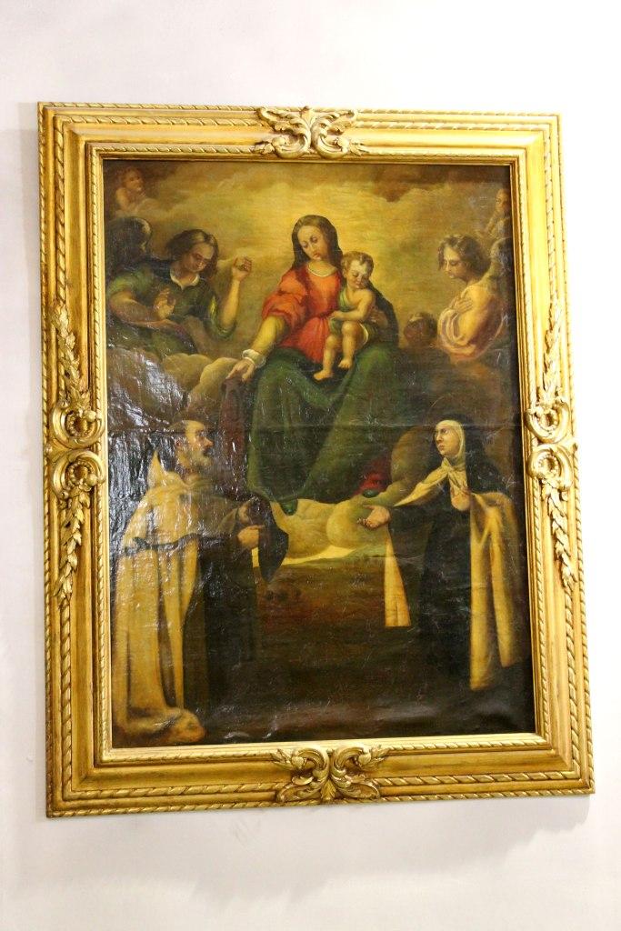 La Virgen entregando el escapulario a San Simón Stock en presencia de Santa Teresa de Jesús. Artana, Parroquia de San Juan Bautista