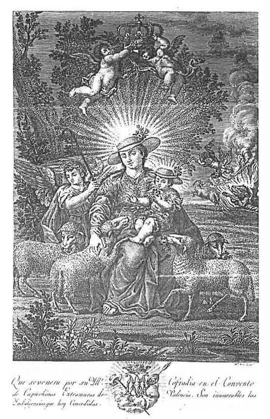 La Divina Pastora de las Almas. Grabado calcográfico realizado por Julián Mas el 1827. Colección particular