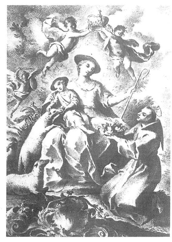 La Divina Pastora. Dibujo preparatorio para grabar realizado por Manuel Bru. Madrid, Museo del Prado
