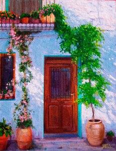 Ain. Porta i plantes. Oli sobre llenç. 37x29 cm