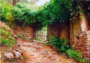 Alhajar. La puerta del Huerto. Oli sobre llenç. 41x33 cm