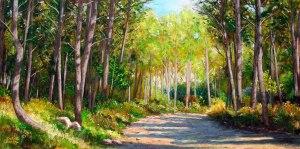 Artana. Camí entre Pins. Oli sobre fusta. 60x33 cm