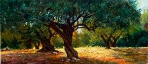 Artana. Camp d'oliveres. Sol baix per la vesprada. Oli sobre fusta. 53x23 cm