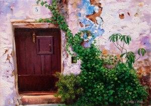 Vilafamés. La porta amb heura. Oli sobre llenç. 46x33 cm