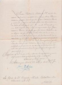 Instància en la que Joan Cabanyes pare demana un certificat amb les causes de la mort del seu fill. Datada el dilluns 22 de març de 1937