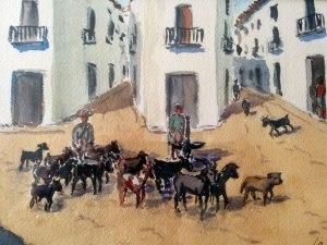 José Mª Catret té nombroses il·lustracions de temàtica artanenca. Ací reproduïm un dibuix a l'aquarel·la sobre la dula.