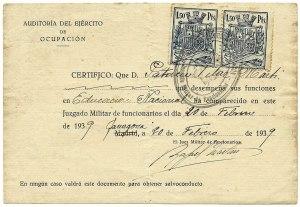 Certificat de compareixença en Jutjat Militar de les Exèrcit d'Ocupació en qualitat de Mestre. Lliurat a Tarragona, on tenia plaça, dilluns 20 de febrer de 1939. Els dos documents han estat aportats per Jordi López Vilar.
