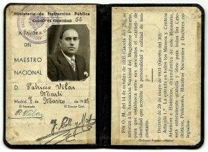 Carnet de Mestre nacional lliurat a Madrid el dissabte 7 de març de 1936 en favor de Patrício Vilar Martí, natural d'Artana.