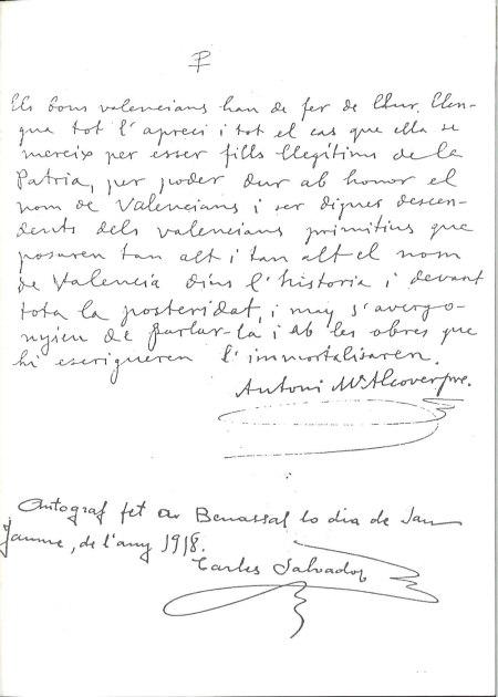 autògraf-Mn-Alcover-a-Benassal-1918